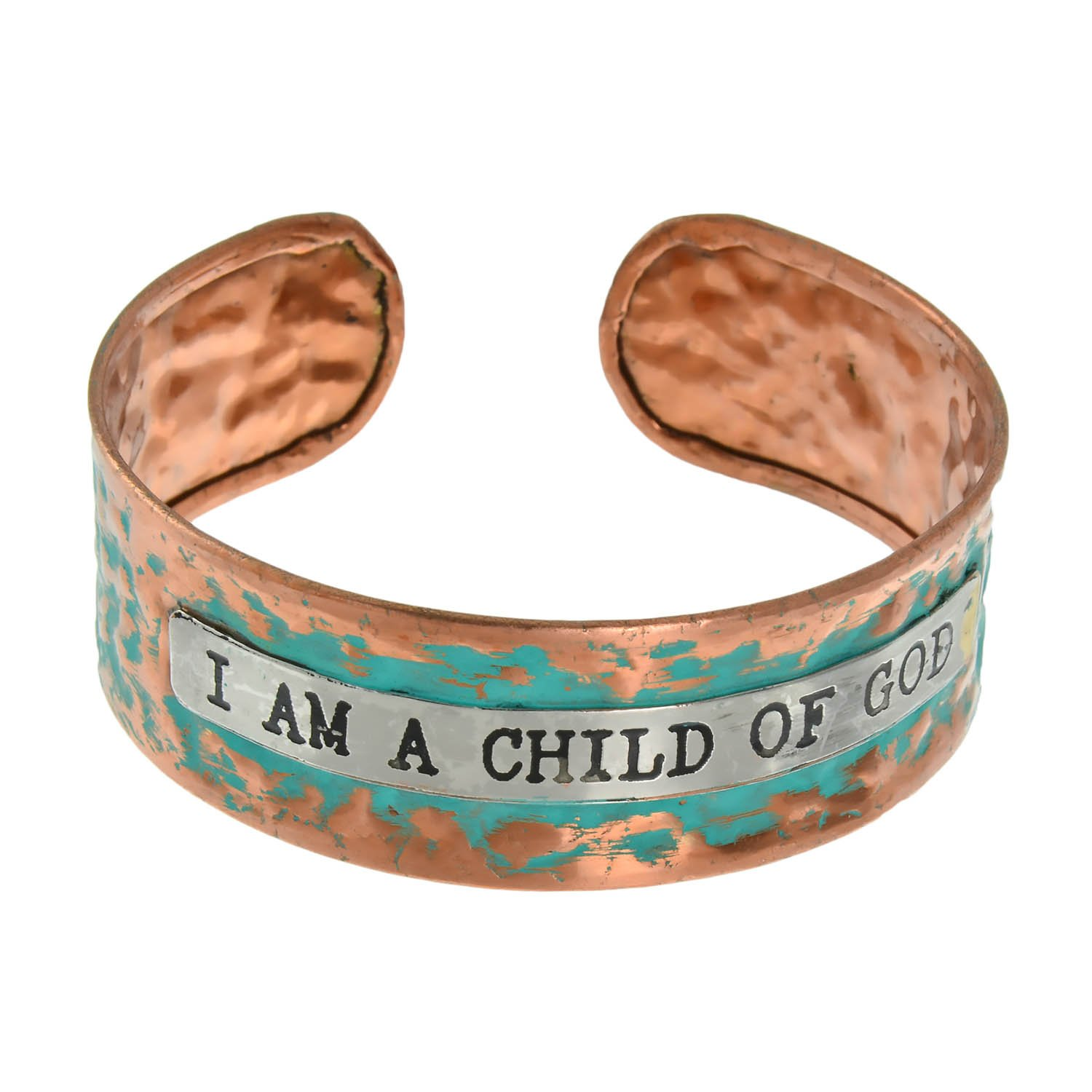 PammyJ I AM A CHILD OF GOD Inspirational Message Bronze tone and Patina Cuff Bracelet