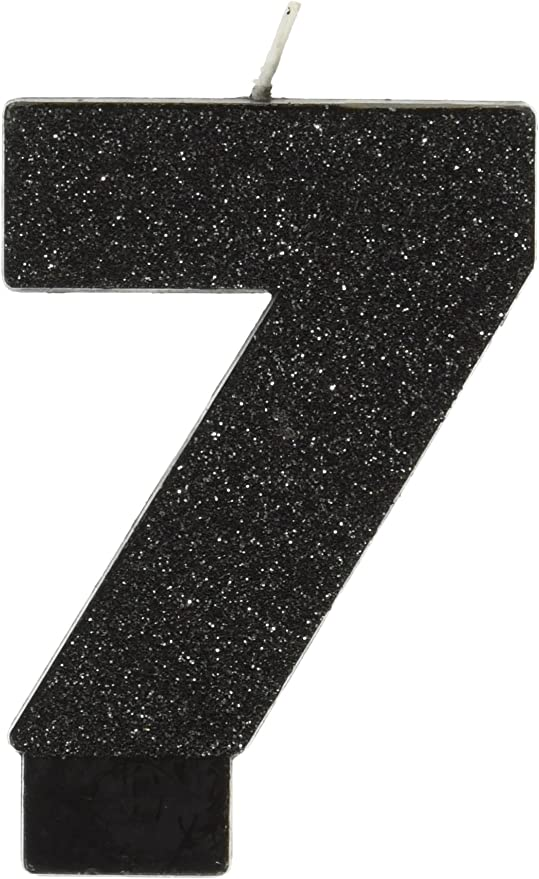 amscan Birthday Celebration, Numeral #7 Glitter Candle, Party Supplies, Black, 3 1/4