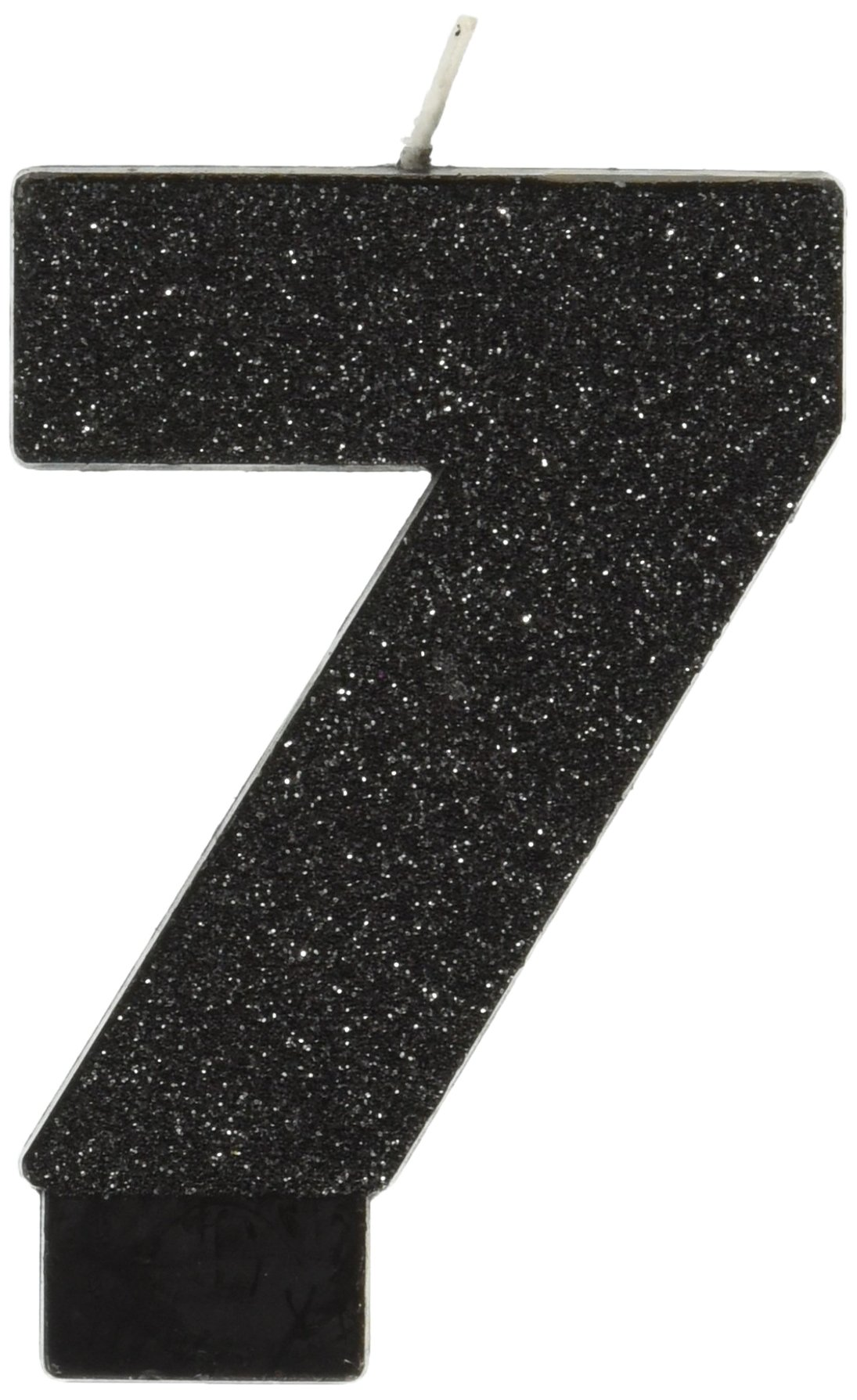 Amscan Birthday Celebration, Numeral #7 Glitter Candle, Party Supplies, Black, 3 1/4''