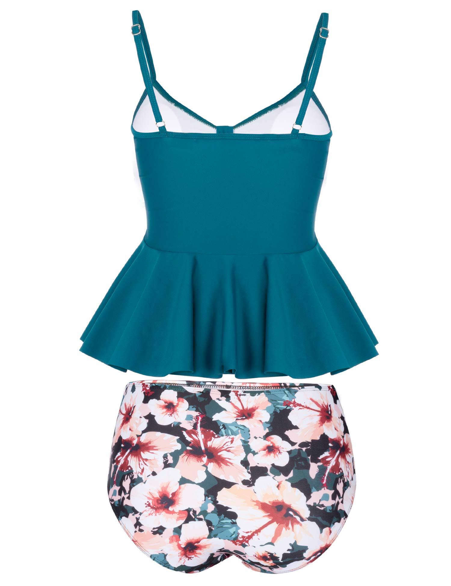 MARINAVIDA Wowen Swimsuit Two Piece Ruffle Tankini Top with High Waisted Bottom Dark Green