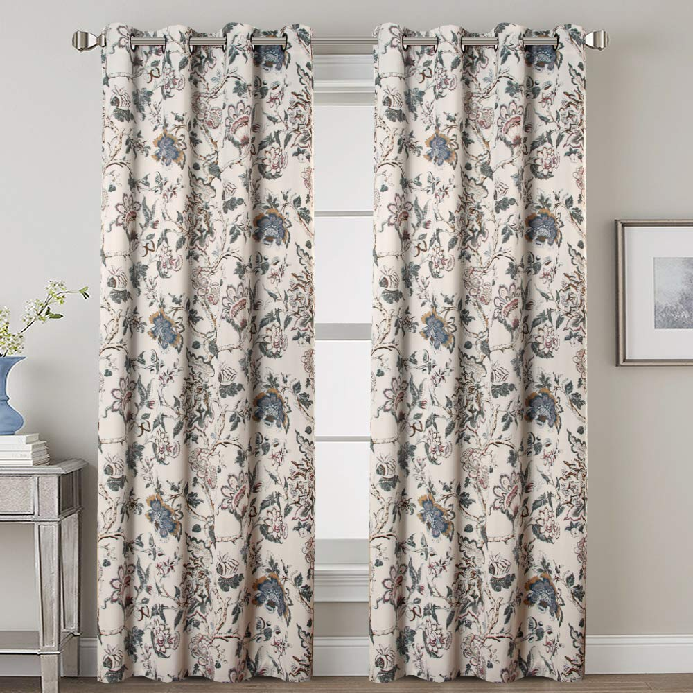 H.VERSAILTEX Thermal Insulated Grommet Blackout Curtains for Bedroom Floral Printing Curtains 52 by 84 inch Length, Set of 2 Panels, Traditional Floral Pattern in Sage and Brown by H.VERSAILTEX