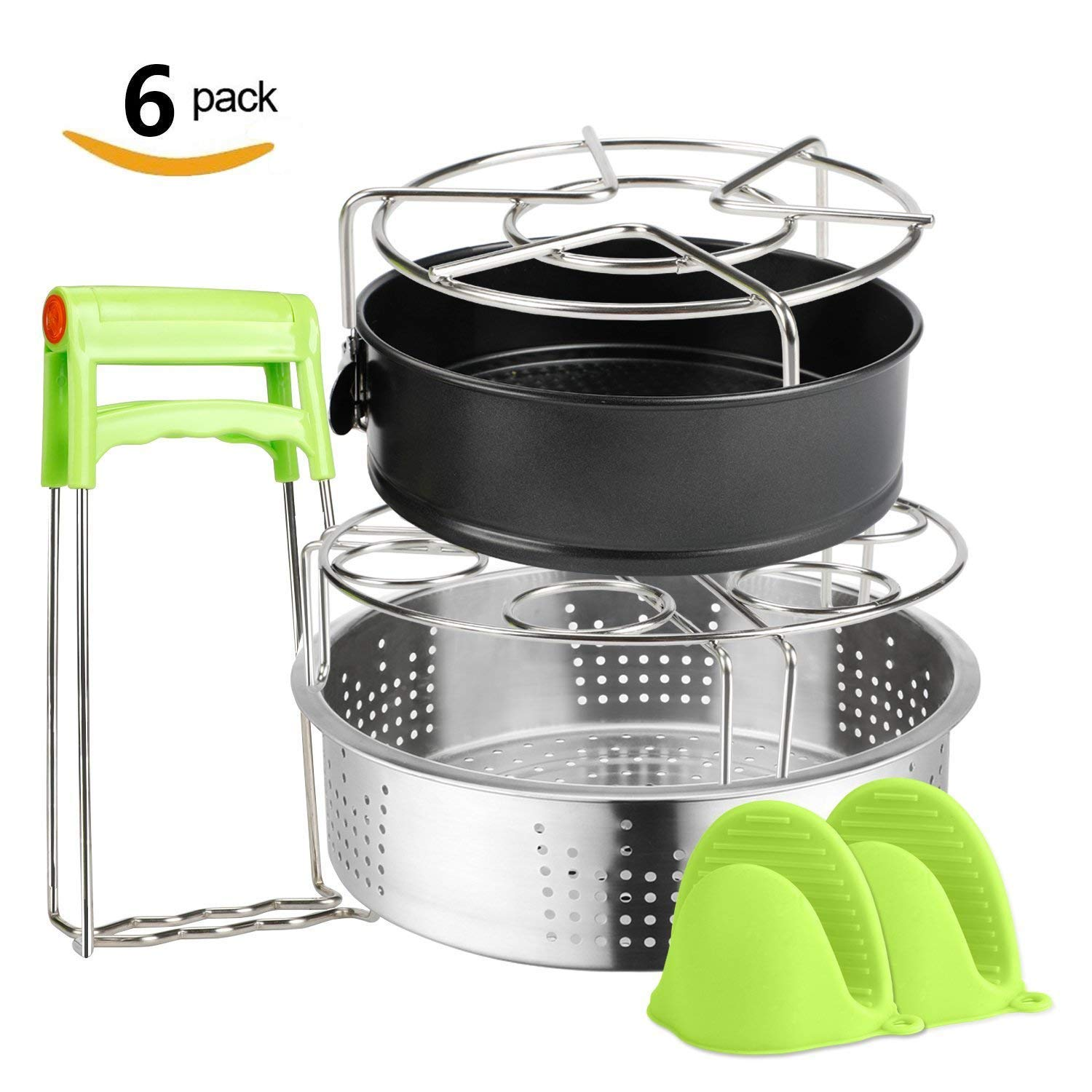 6 PACKS Instant Pot Accessories Steamer Basket Steamer Sets Steamer Base Springform Pan Egg Steamer Rack Silicone Oven Mitts Plate Dish Clip for Pressure Cooker Cooking Pot Steamer Pot Pan 4 5 6 8 qt