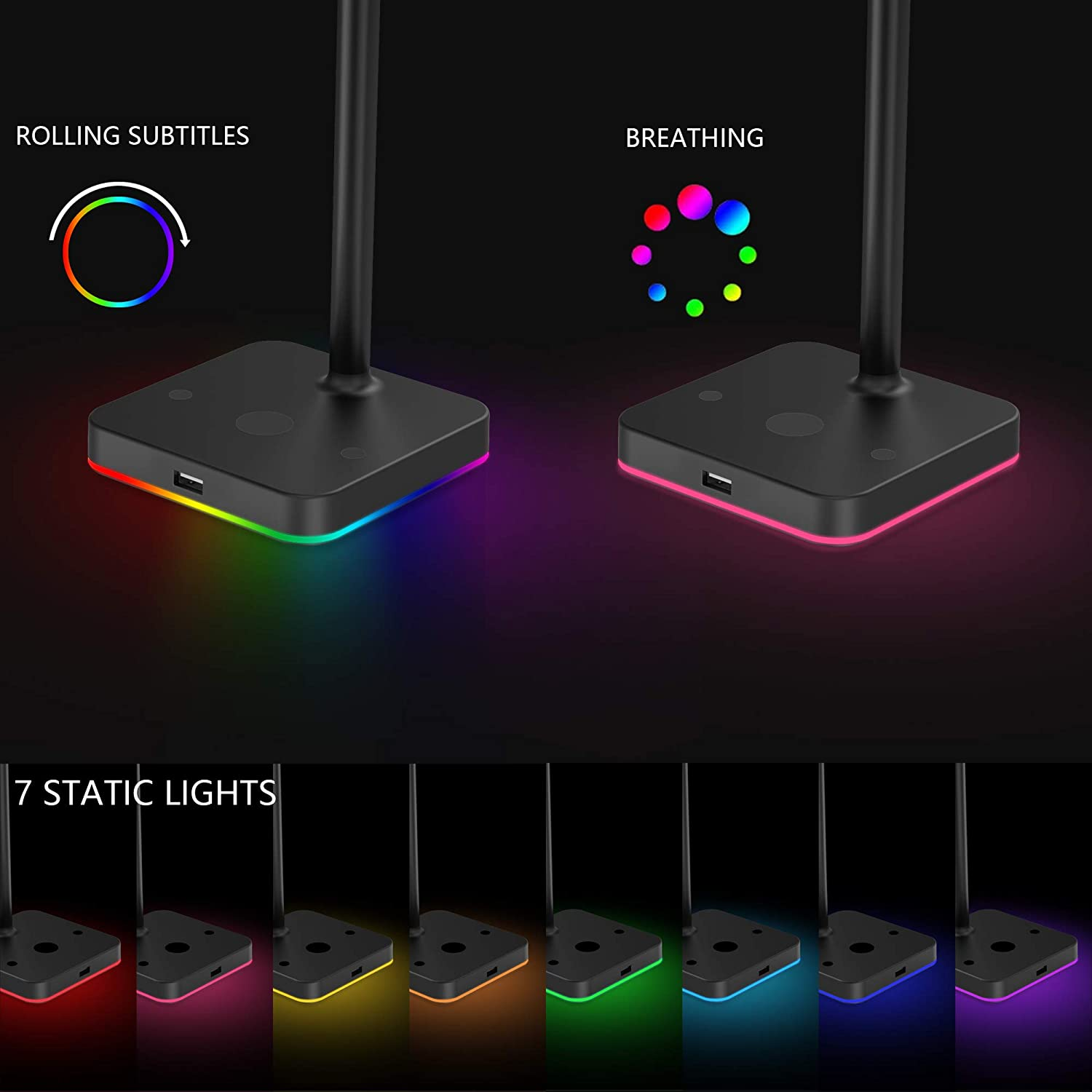 RGB Headphone Stand with USB Hub KAFRI Desk Gaming Headset Holder Hanger Rack with 1 USB2.0 Extension Charging Port Extender Cord Suitable for Gamer Desktop Table Game Earphone Accessories