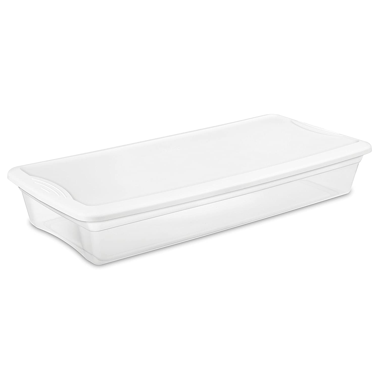 White Lid w// Clear Base Sterilite 16558010 28 Quart// 27 Liter Storage Box 10-Pack
