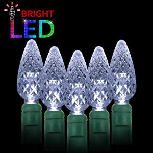 AIDDOMM LED Christmas Lights 70 Counts C6, for Outdoor and Indoor, Cool White Light, Green Wire, 6in Spacing, 35.5ft, UL Listed