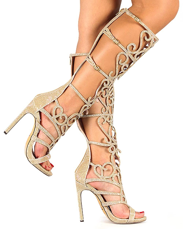 2695b71878e016 Celeste Chelsea-01 Glitter Knee High Open Toe Rhinestone Gladiator Stiletto  Sandal - Gold (Size  7.0)  Amazon.ca  Shoes   Handbags