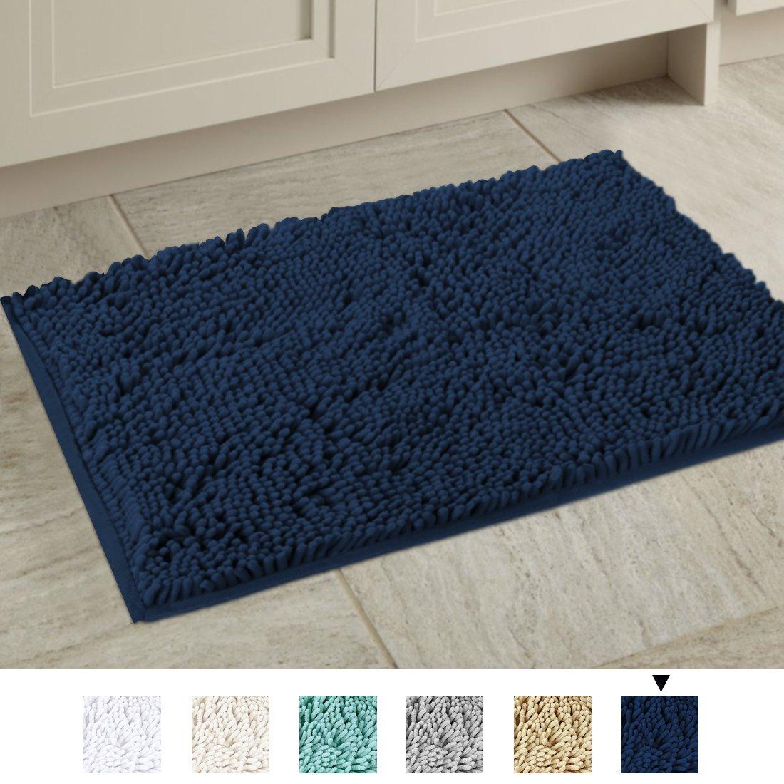 H.VERSAILTEX 20x32 inch Oversize Bathroom Rug Shag Shower Mat Soft Texture Floor Mat Machine-washable Bath mats with Water Absorbent Soft Microfibers Rugs for Kitchen, Navy