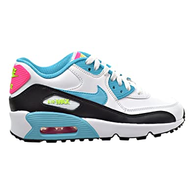 low priced a9054 b27c7 Nike Air Max 90 LTR (GS) Big Kid's Shoes White/Blue/Pink Blast/Ghost Green  833376-104 (4 M US): Amazon.co.uk: Shoes & Bags