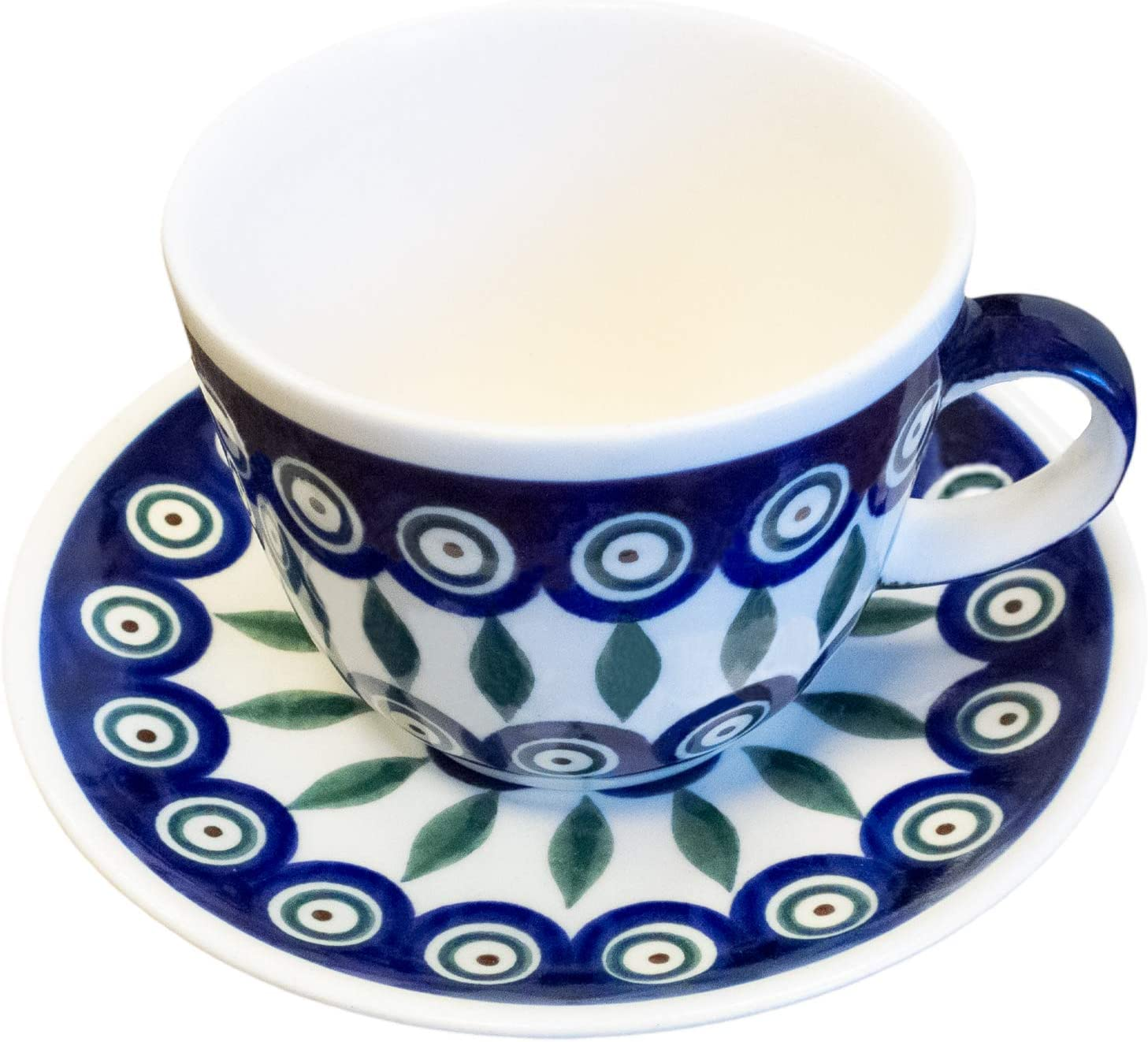 Bunzlauer Keramik Polish Pottery Teacup Coffee Cup with a Saucer Traditional Ceramics from Boleslawiec 100/% Original Item Handcrafted in Poland 200 ml Capacity
