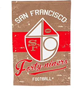 """Team Sports America San Francisco 49ers NFL Vintage Linen Garden Flag - 12.5"""" W x 18"""" H Outdoor Double Sided Décor Sign for Football Fans"""
