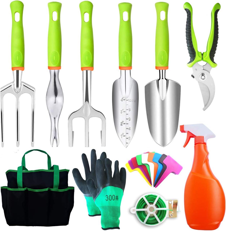 xiaochao Garden Tools Set 11Pcs Stainless Steel Gardening Tools Set Kit with Carrying Case, Gardening Gifts for Women & Men (Green)