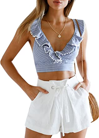 fa2ed5fee0f08 Glamaker Womens Sexy V Neck Backless Tank Tops Stripped Floral Ruffles Crop  Tops