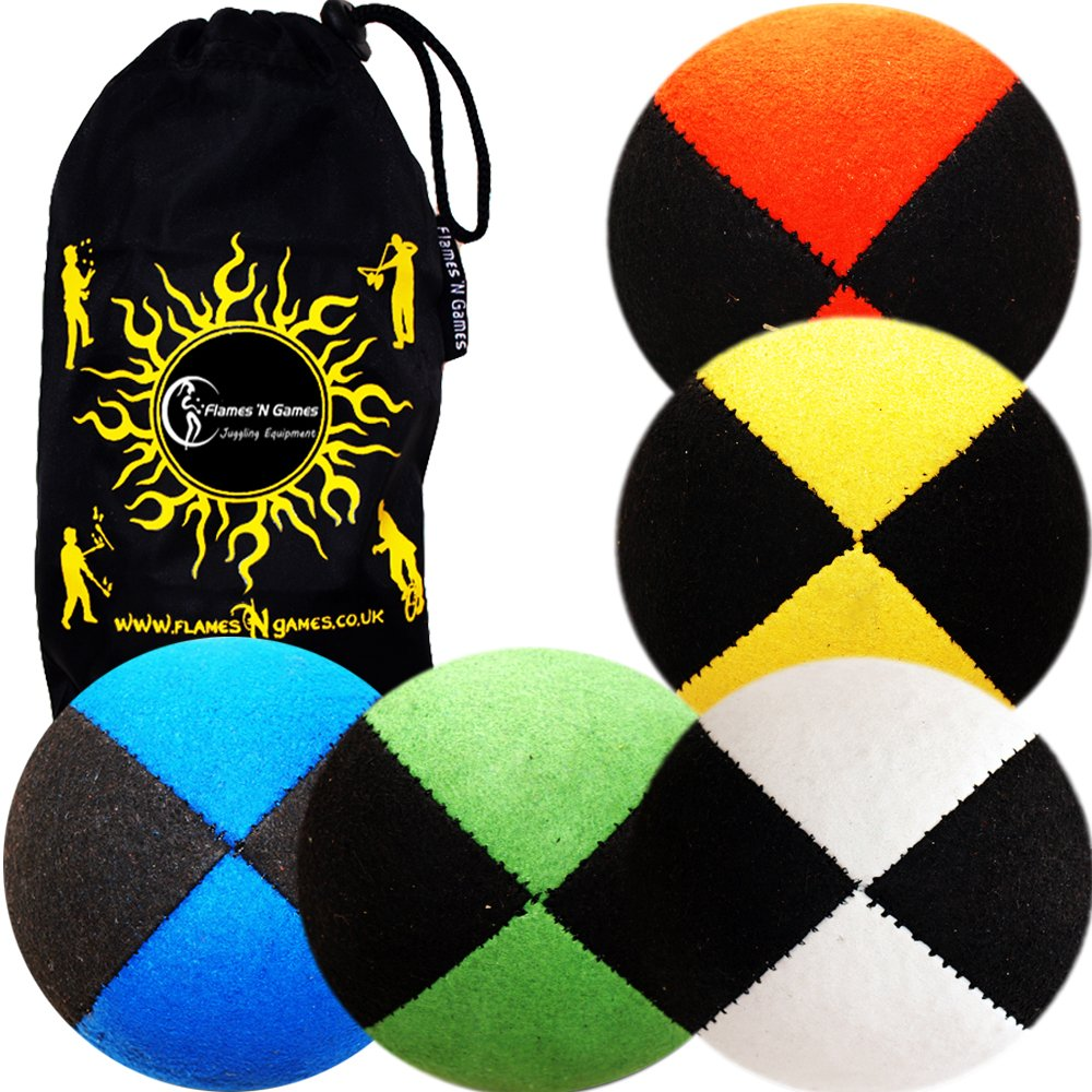 5x Pro Thud Juggling Balls - Deluxe (SUEDE) Professional Juggling Ball Set of 5 with Fabric Travel Bag! (Mix) by Flames N Games Juggling Ball Sets