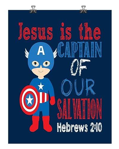 Captain America Christian Superhero Wall Art Nursery Decor Print - Jesus Is The Captain Of Our  sc 1 st  Amazon.com & Amazon.com: Captain America Christian Superhero Wall Art Nursery ...