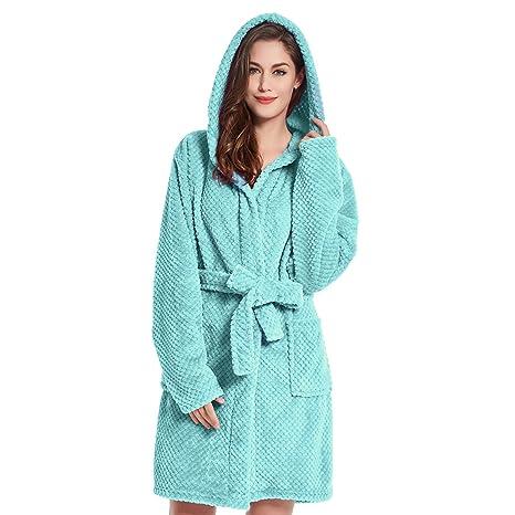 DecoKing Albornoz XS Corto Mujer Hombre Unisex Capucha Bata Microfibra Suave Agradable Ligero Fleece Turquesa Sleepyhead