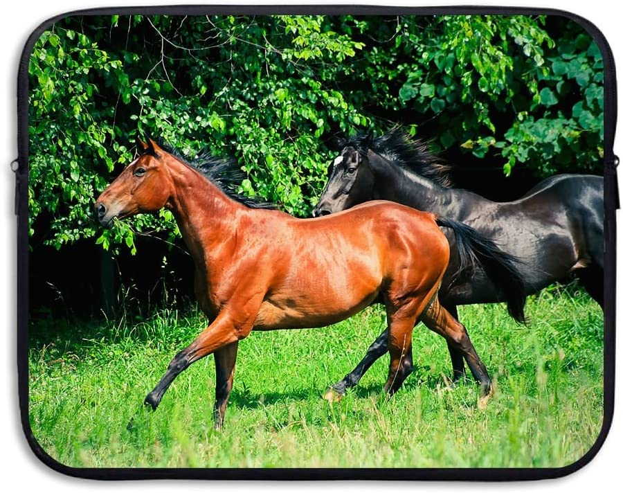 Reteone Laptop Sleeve Bag Brown And Black Horse Cover Computer Liner Package Protective Case Waterproof Computer Portable Bags