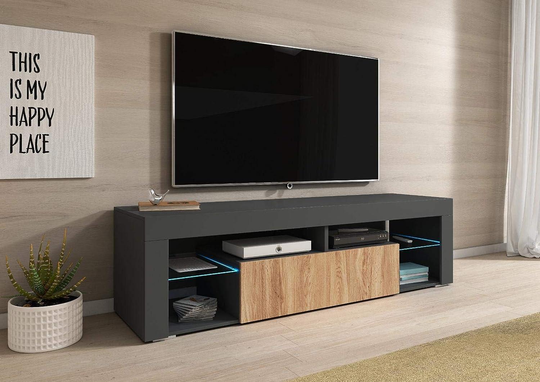 Meuble tv Meuble de salon KAMI 140 cm blanc chêne wotan éclairage LED optionnel