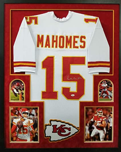 Patrick Mahomes Kansas City Chiefs Autograph Signed Custom Framed White  Jersey Suede Matted JSA Witnessed Certified a8b09c649