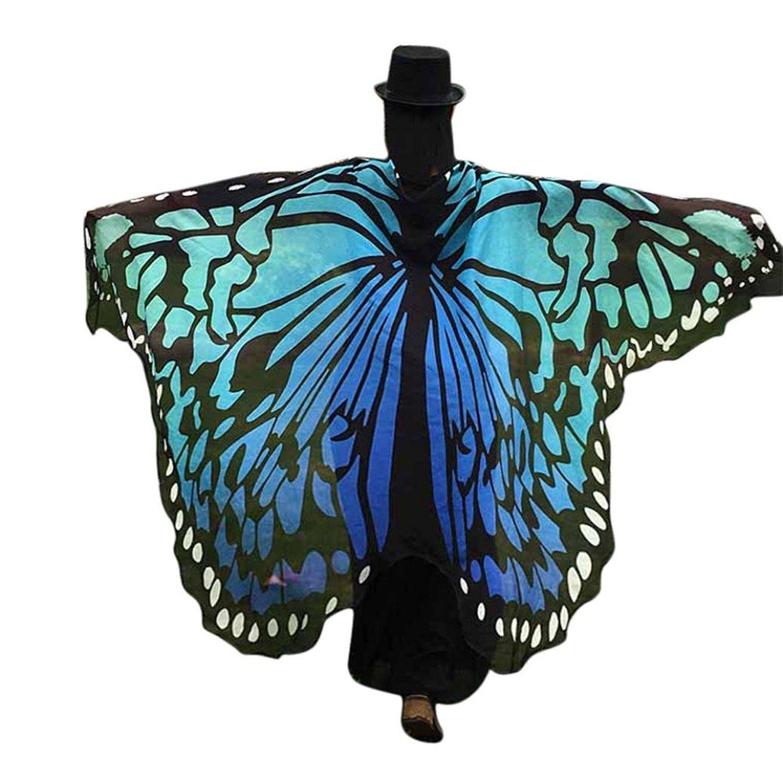 145 * 180 cm Farfalla Scialle Donna Ali Costume Sciarpa Grande Poncho Accessorio Carnevale Danza Spettacolo Blu e Nero