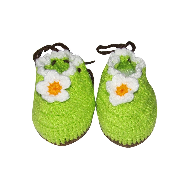 95fb2f9e87912 Amazon.com: Green Baby Booties with white Flowers - Newborn Crochet ...