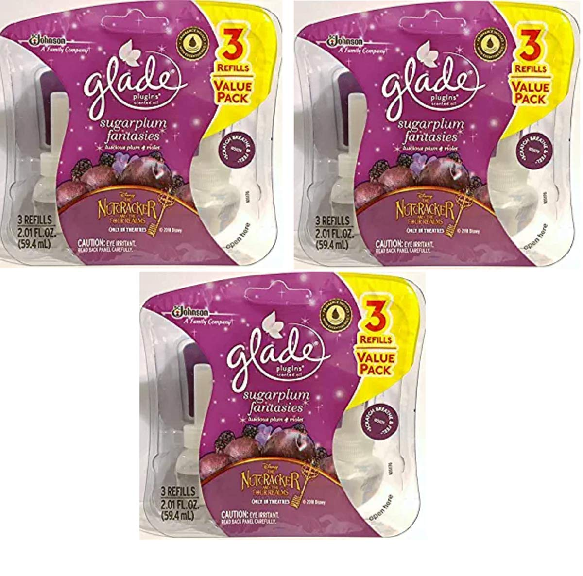 Glade Plugins Scented Oil Refills - Holiday Collection 2018 - Sugarplum Fantasies - 3 Count Oil Refills Per Package - 3 Packages - 9 Refills Total