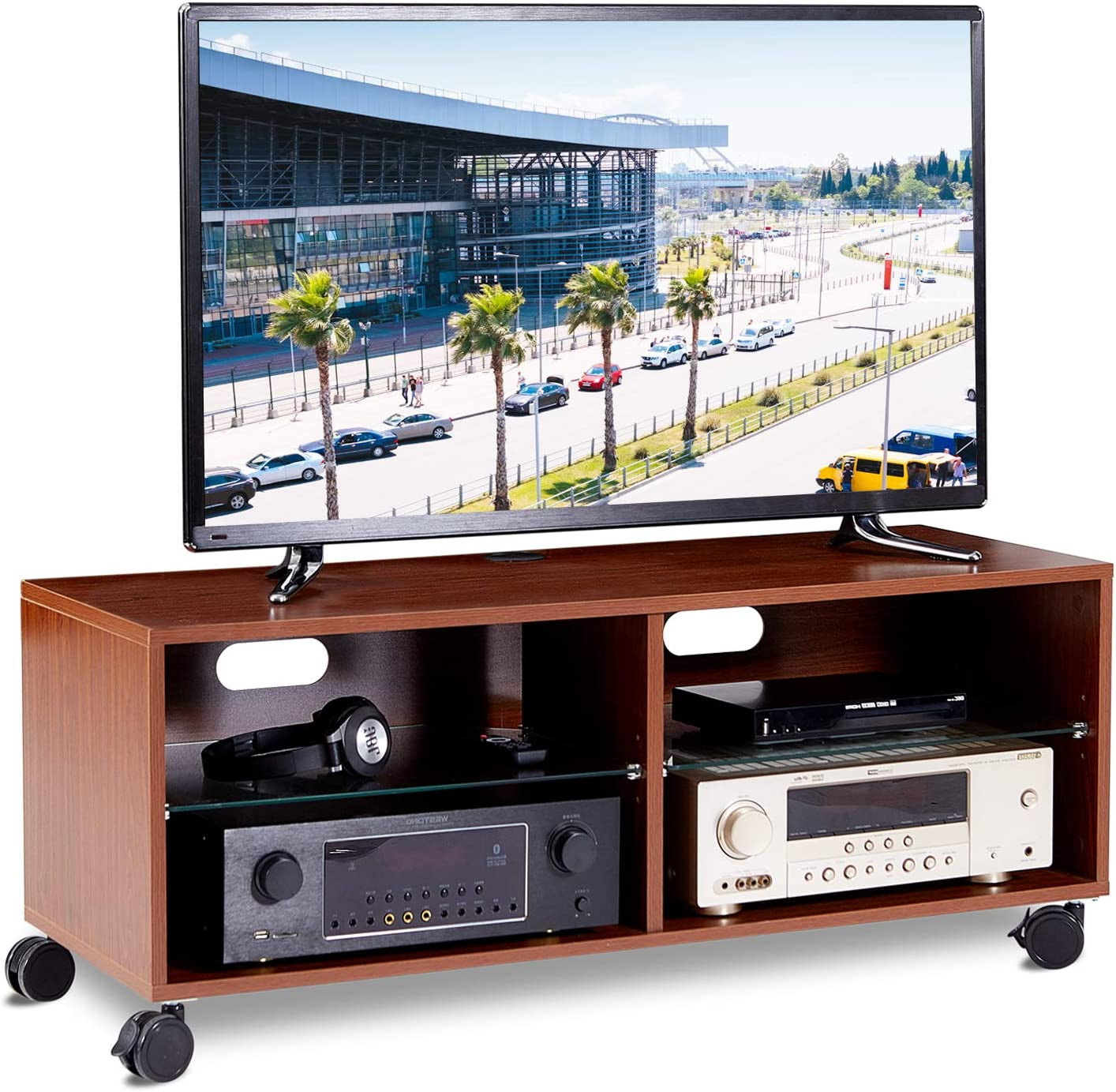 RFIVER Mueble TV con Ruedas Mesa para Televisión de Color Nogal ...