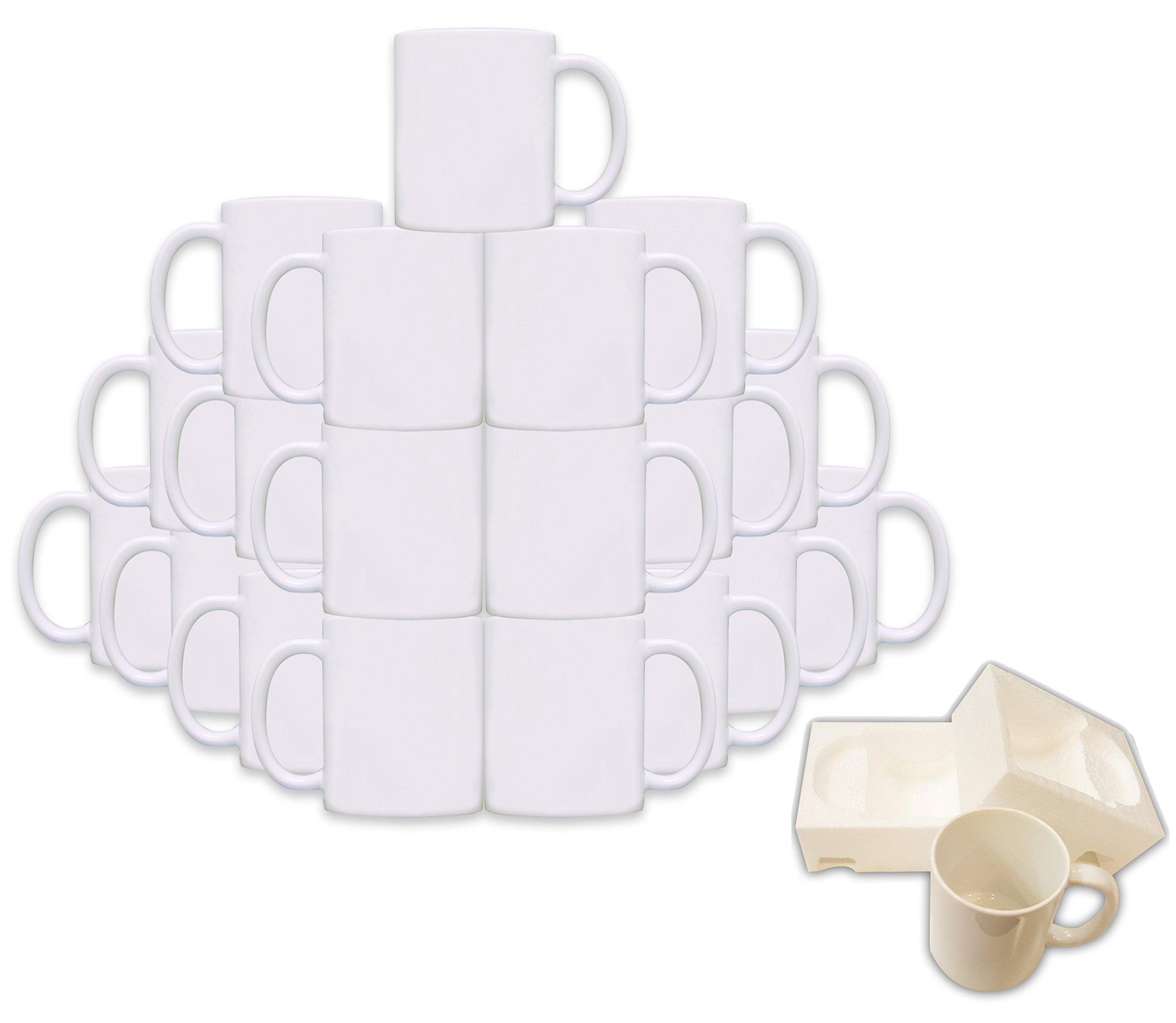 Mug 36-Piece Double Sublimation Coated Ceramic Mugs, 11 Oz, Blank White, Black & Red MUG-Case-36-White