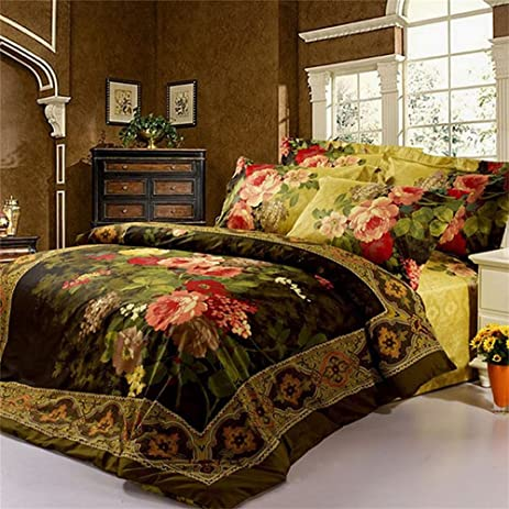 Alicemall 4 Pieces 3D Bedding Sets California King Size Antique Oil  Painting Flowers 4 Piece Bedspreads