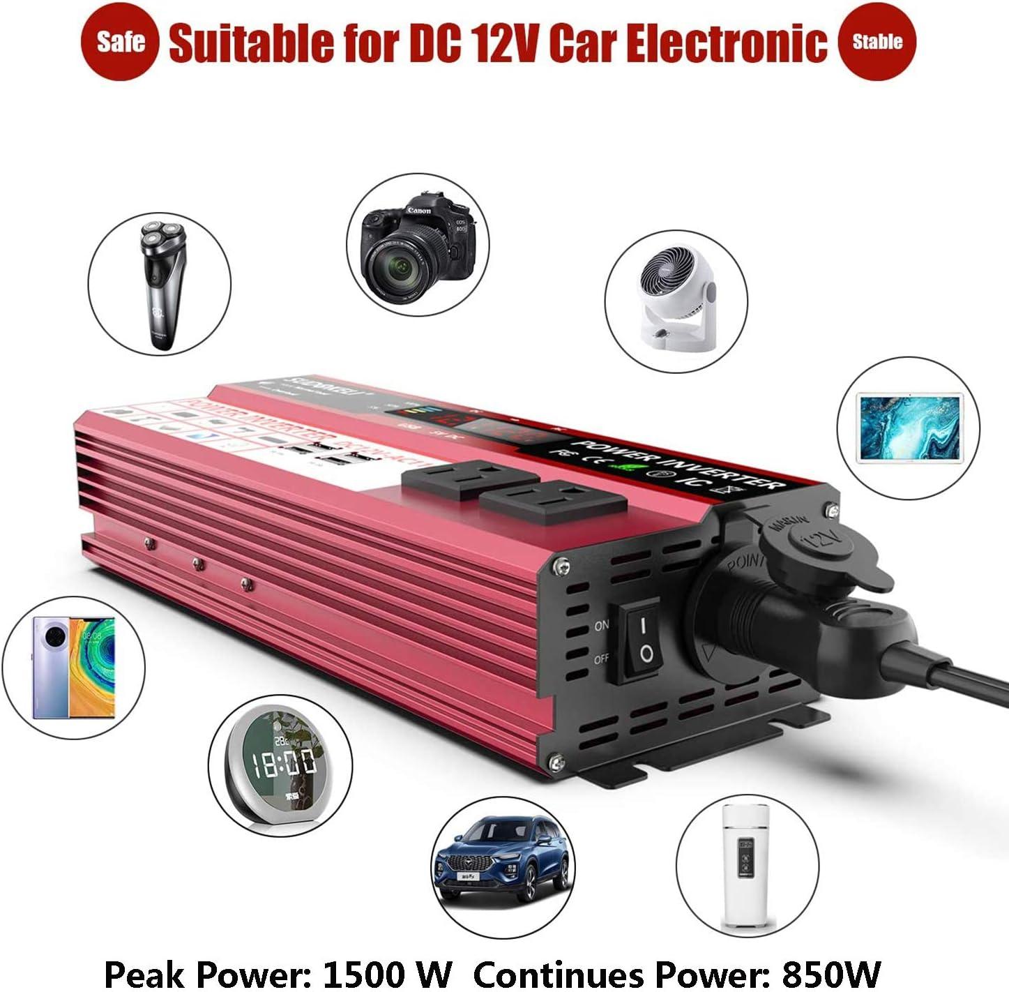 Invertitore di Potenza 1000W Solar Power Inverter DC 12v in AC 220v AC 230v Convertitore con LCD Display,2 Presa AC /& 4 Porta USB /& 1 Porta Accendisigari