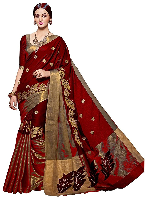 IndoPrimo Cotton Silk Saree With Blouse Piece