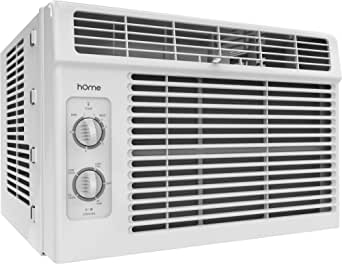 hOmeLabs 5000 BTU Window Mounted Air Conditioner - 7-Speed Window AC Unit Small Quiet Mechanical Controls 2 Cool and Fan Settings with Installation Kit Leaf Guards Washable Filter - Indoor Room AC