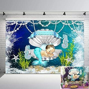 8x12 FT Mermaid Vinyl Photography Background Backdrops,Hand Drawn Mermaid on Ornate Backdrop Fantasy Design Background Newborn Baby Portrait Photo Studio Photobooth Props