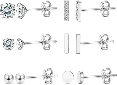 Sllaiss 6 Pairs Sterling Silver Stud Earrings Set for Women Silver Ball Round CZ Small Hoop Minimal Cartilage/Earrings Set Hypoallergenic