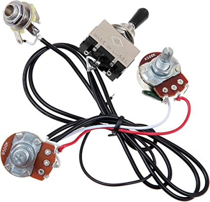 Amazon.com: Kmise Electric Guitar Wiring Harness Prewired Kit 3 Way Toggle  Switch 1 Volume 1 Tone 500K Pots 1 Set: Musical Instruments | Guitar Pick Up Switch Wiring Diagram |  | Amazon.com