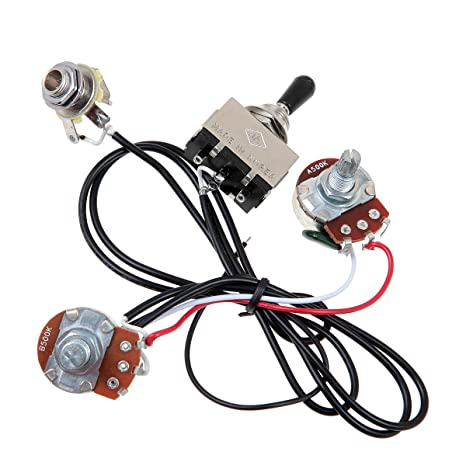 amazon com: kmise mi0321 guitar wiring harness prewired two pickup 500k  pots 3-way toggle switch chrome: musical instruments