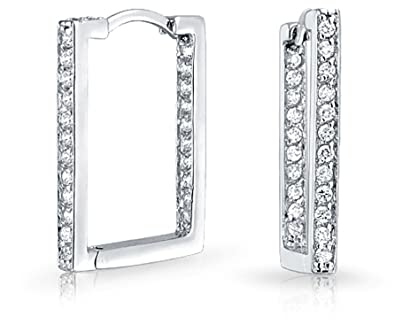 dfdcde946ac65 Geometric Rectangle Square Inside Out Channel Set CZ Large Hoop Earrings of  Women Cubic Zirconia 925 Sterling Silver