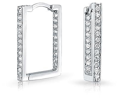 6ec4ca6492c6a Geometric Rectangle Square Inside Out Channel Set CZ Large Hoop Earrings of  Women Cubic Zirconia 925 Sterling Silver