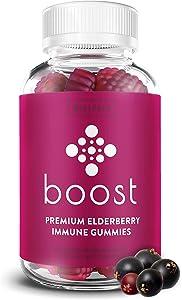 Boost Premium Elderberry Gummies with Vitamin C & Zinc for Adults & Kids - 60c Sambucus Elderberry Gummies for Immune Support - Full 90 Mg Serving Vitamin C Gummies for Adults