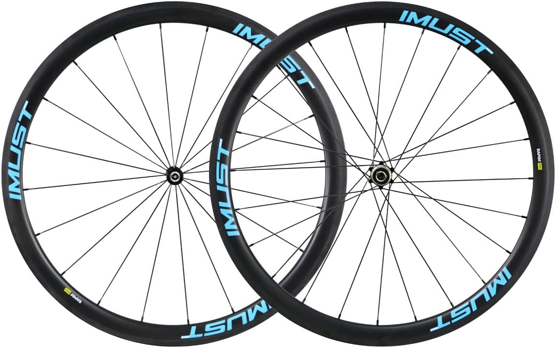 IMUST- Fast38,2 caminos usado de Cubierta Tubeless Ready 700C ruedas de 100% carbono para carretera/triatlòn/ciclocros /Time Trail 20/24 Agujeros perfil 38 anchura 25/Carbon wheelaet clincher Tubeless Ready: Amazon.es: Deportes y aire libre