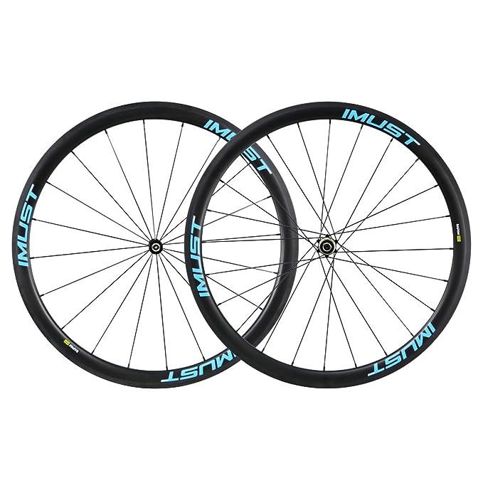 IMUST- Fast38,2 caminos usado de Cubierta Tubeless Ready 700C ruedas de 100% carbono para carretera/triatlòn/ciclocros /Time Trail 20/24 Agujeros perfil 38 ...