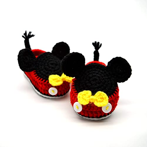 76e9d0739c6 Crochet Baby Shoes for Infant and Newborn Boy - Mickey Mouse Style ...