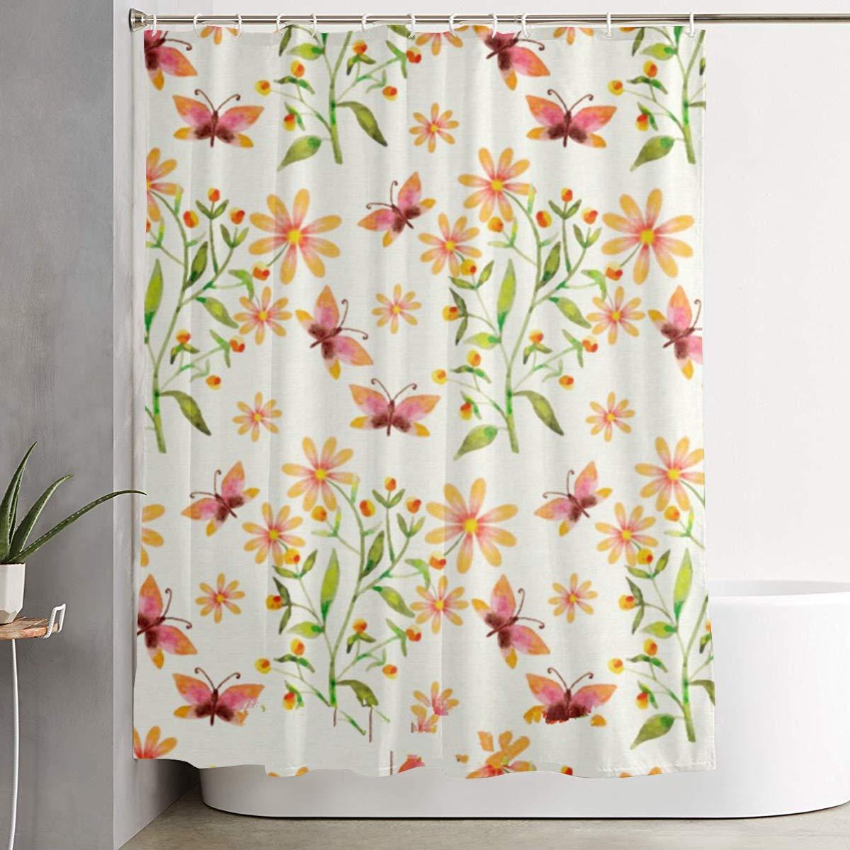 Amazon RF94nu Orange Flowers Mildew Resistant Fabric Waterproof Bathroom Shower Curtain Home Kitchen