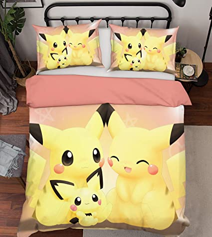 3D Pokemon Pikachu Duvet Cover Pillowcases cover Bedding Set