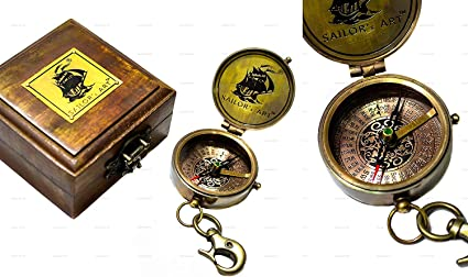 Go Confidently In The Direction Vintage Antique Look Solid Brass Compass.