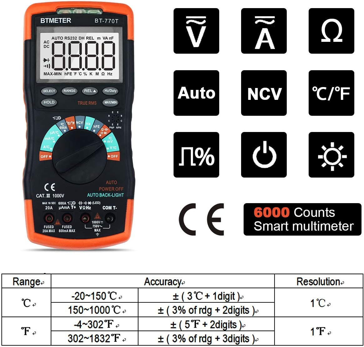 BTMETER Digital Multimeter BT-770S TRMS 6000 Counts Manual Ranging for AC DC Volt Amp Ohm Capacitance Frequency with Continuity Tester Auto Backlit for Automotive Hobbyist Electrical Home