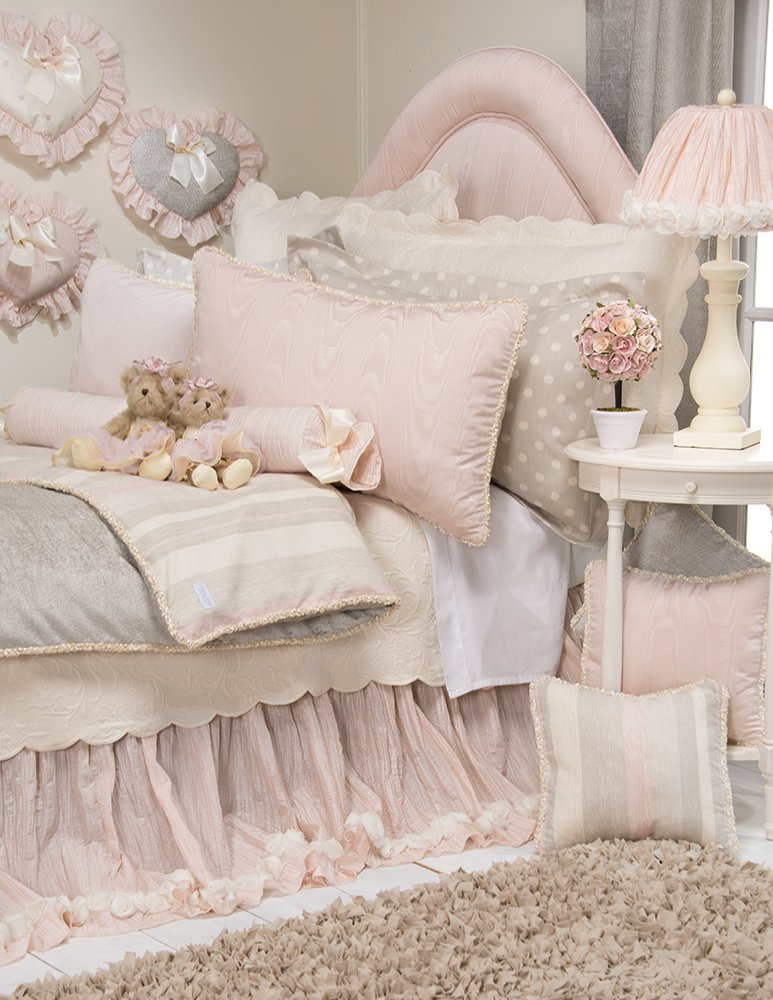 Glenna Jean Contessa Crinkle Skirt with Roses, Full, Pink/Cream