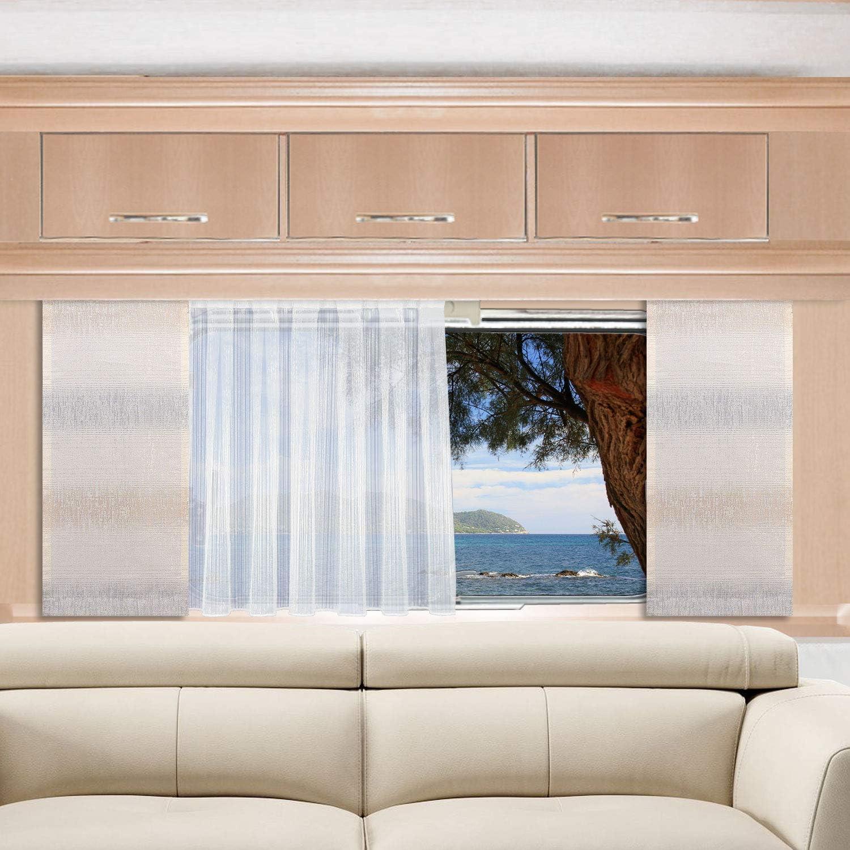 H/öhe 60 SeGaTeX home fashion Caravan-Fl/ächenvorhang Nevio 20cm Breit grau-beige Fl/ächengardine f/ür Caravan Wohnwagen Wohnmobil 120cm Nach Ma/ß