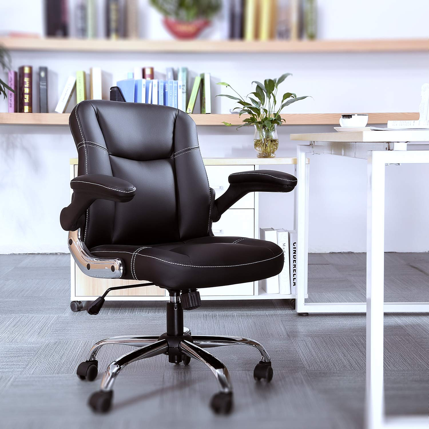 Myka's Ergonomic Leather Executive Office Chair High Back Computer Chair with Upholstered Armrest Brown by Myka's