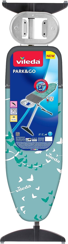 Regolabile in Altezza Vileda Asse da Stiro Park/&Go in Metallo Imbottita con Poggiaferro Resistente Azzurro//Grigio 168.5 x 45.6 cm
