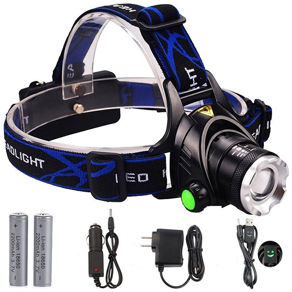 GRDE LED Headlamp Zoomable 3 Modes Waterproof Headlight ...